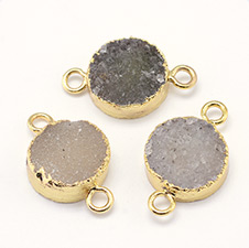 Natural Drusy Agate Flat Round Links