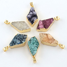 Dyed Drusy Natural Agate Pendants