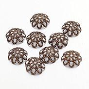 Antique Bronze Iron Flower Bead Caps