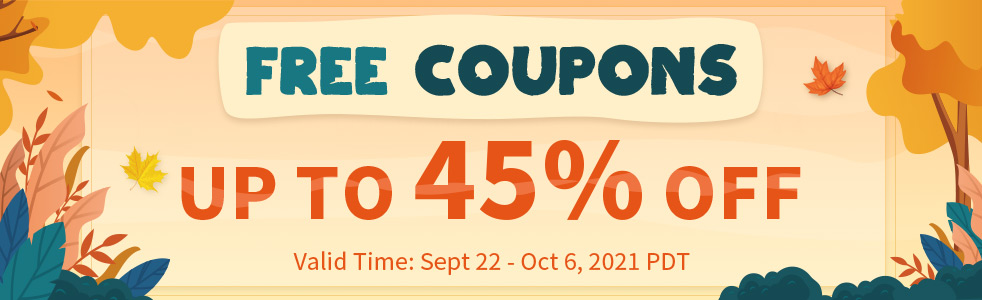 Free Coupons Up To 45% OFF