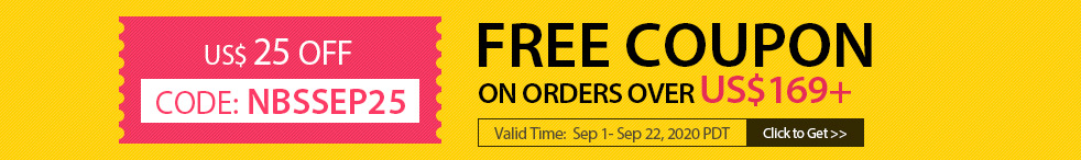Free Coupon US$ 25 OFF On Orders Over US$169+