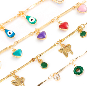 Chain with Enamel Charms