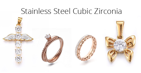 Stainless Steel Cubic Zirconia