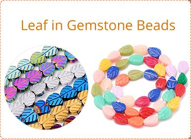 Leaf in Gemstone Beads