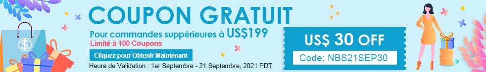 Coupon Gratuit US$ 30 OFF Pour commandes suppérieures à US$199